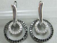 1.30Ct Round Cut Black Diamond Huggie Hoop Earrings Solid 14K White Gold Finish