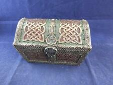 Celtic Design Resin Chest Trinket Box with a Bronze Finish.