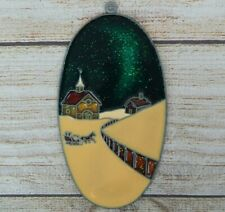 Vintage Suncatcher Oval Winter Scene Window Decoration Christmas Ornament