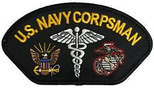 U.S. Navy Corpsman Patch FMF USMC Marine Corps Navy Doc Hat Patch Fleet Marine