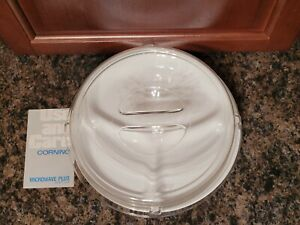 """Corning 3 Section Divided Plate Microwave Safe Plus With Cover 10"""" NEW Corelle"""