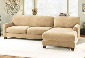 Sure Fit Stretch Pique 5 pc Sectional in Cream Right Chase