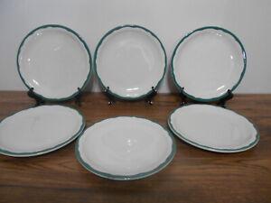 "6 Vintage Syracuse Plates Green Wavy Band Set 6 Restaurant Hotel Ware 8 1/4"""