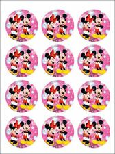 MINNIE & MICKEY MOUSE - EDIBLE ICING IMAGE - CUPCAKE TOPPER - APPROX 5.5CM