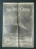 20th APRIL 1912 TITANIC DISASTER  NEWSPAPER , THE DAILY GRAPHIC , LIVERPOOL SHIP