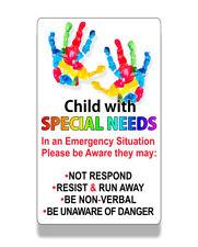 Child Special Needs Emergency Alert Sticker Car Van Window Bumper Vehicle Decal