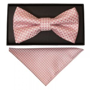 Rose Gold Diamond Neat Mens Bow Tie and Pocket Square Set Dickie Bow Hanky