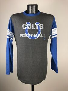 Men's Majestic Indianapolis Colts Gray & Blue Cotton Long Sleeve NFL Shirt Small