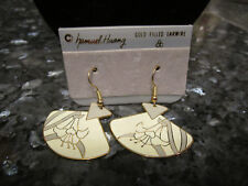 Lilly With Gray Accent Enamel Vintage Samuel Huang Cloisonne Earrings White