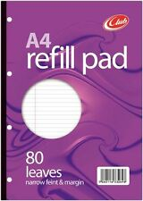 80 Sheet A4 Refill Pad  School Office Punched Narrow Feint Margin Notepad P