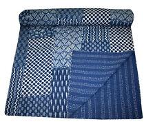 Hand Block Print Kantha Quilt, Patchwork Cotton Bedspread,King Size,Indigo Blue