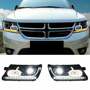 For Dodge Journey LED Headlights Projector LED DRL 2009-2019 Replace OEM Halogen