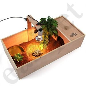 Tortoise Table Small Pet Reptile Wooden House Hide Shelter Den with Run Easipet
