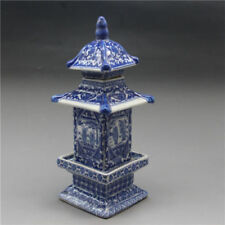 Chinese Blue and White Porcelain Layered Tower Vases W Qianlong Mark