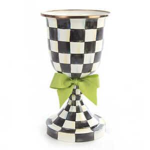 MacKenzie-Childs Courtly Check Enamel Pedestal Vase - Green Bow