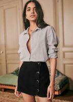 NWT Latest SEZANE Black Leslie Mini Skirt Viscose Blend sz 36 US 4
