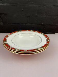 3 x Royal Crown Derby Cloisonne 1st Quality Rimmed Soup Pasta Bowls 22 cm Set