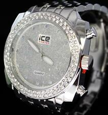 50mm Big Face CZ Bezel Silver Finish High Quality Bling Hip Hop Rapper Watch