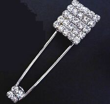 """Square Clear White Rhinestone Safety Pin /Brooch 3"""" / 7.6 cm Length B279"""