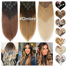 CLEARANCE Real Remy Human Hair Extensions THICK Double Weft Clip In Full Head HM