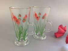Pair Of Hand Painted Poppy Latte Glasses