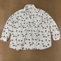41Hawthorn Women's Size 3X White Blue Print Long Sleeve Pullover Blouse NWOT