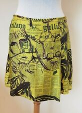 Galliano rare yellow Gazette Print silk Skirt Size 42 BNWT