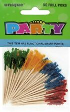 ASSORTED COLOR FRILLED PICKS PACK OF 50  LUAU/HAWAIIAN COCKTAIL PARTY SUPPLIES