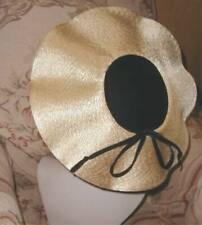 New listing Dramatic 1950s Schiaparelli Paris Wide Saucer Scalloped Platter Hat Gold & Black