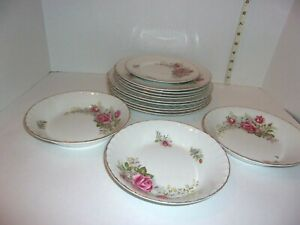 Regal Rose Ridgway White Mist with 22k Gold England Bowls, Plates Crown Special