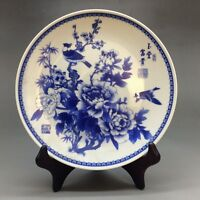 Chinese blue and white porcelain hand-painted flowers - plate