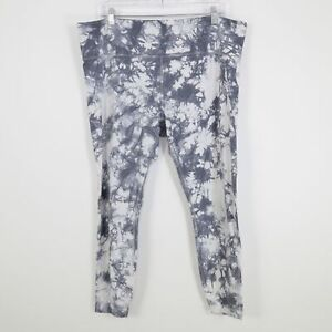 Athleta Salutation 7/8 Leggings Cropped 1X/XL Plus Tie Dye Gray White Yoga