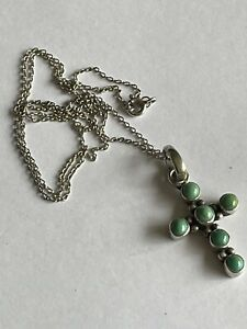 Vintage Navajo Style 925 Silver & Turquoise Cross Crucifix Pendant & Chain
