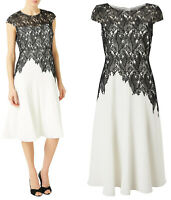 Jacques Vert NEW Ivory & Black Leaf Lace Crepe Shift Midi Dress Sizes 8 to 24