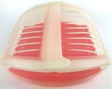 LeKue Platinum Silicone Microwave Food Steamer Clear and Orange Tray Booklet EUC