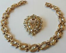 VINTAGE CROWN TRIFARI SIGNED CLEAR RHINESTONE NECKLACE AND  BROOCH 5F