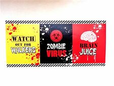 PKT OF 6 HALLOWEEN ZOMBIE WINE BOTTLE LABELS STICKERS HORROR PARTY FAVOURS