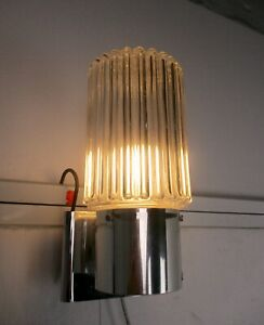 Retro Mid Century Modernist Graewe Space Age Wall Sconce Round Clear Glass