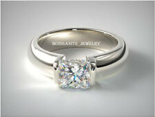 2.00 ct Princess Cut Off White Moissanite 925 Sterling Silver Wedding Ring