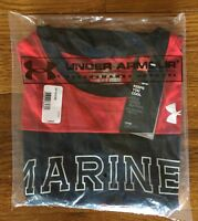 Under Armour Men's Large United States Marine Corps Marines Red Black T Shirt