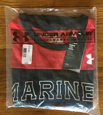 NWT Under Armour HeatGear Men's Large United States US Marines Red Black T Shirt