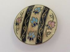 Edwardian Enamel Button - Floral Striped Design, Cream & Pink Ground