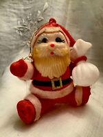 Vintage Mid Century Flocked Felt Plastic Santa Claus Ornament CHRISTMAS KITSCH
