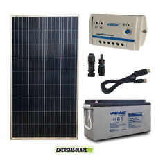 Kit Solare Fotovoltaico 150W 12V Batteria AGM 150Ah Casa Baita Chalet