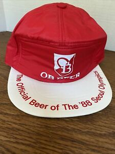 OB Beer Hat Cap Official 88 Seoul Olympics 1988 Red White
