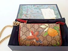 NEW Gucci Tian Print GG Supreme Chain Wristlet Mini Bag Pouch Authentic w/box