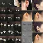 Women Silver Gold Black Hollow Triangle Earrings Geometric Figure Shape Ear Stud