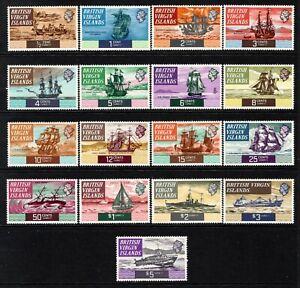 British Virgin Islands QE2  1970-74 Boats/Ships Set SG240-56 MNH