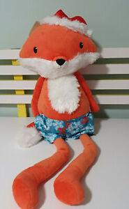 FOX PLUSH TOY WEARING SHORTS AND A SANTA HAT ORANGE FOX STUFFED ANIMAL 70CM