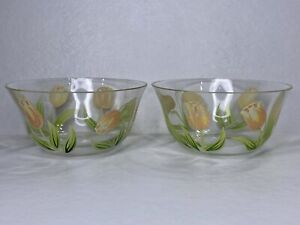 "Princess House COTTAGE TULIP 5"" Round Bowls Hand Painted Lot Of 2 Blown Glass"